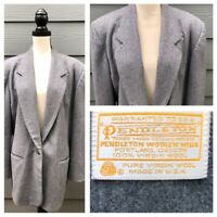 Pendleton Women's Gray 100% Wool One Button Blazer Coat Size 18