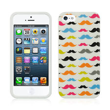 For Apple iPhone 5 5S SE TPU CANDY Gel Flexi Skin Case Phone Cover Mustaches
