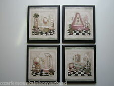 Bathroom Wall Decor Signs, 4 plaques Paris French Cottage Bathtub pictures
