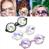 Rainbow Rave Festival Kaleidoscope Round Glasses Prism Diffraction Crystal Lens