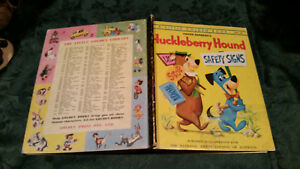 HUCKLEBERRY HOUND SAFETY SIGNS 252:30 1ST syd 4sq LITTLE GOLDEN BOOK Cartoon