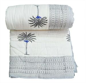 Palm Tree Printed Cotton Handmade Indian Winter Reversible Blanket Quilt Razai