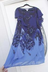 Roaman's Dress semi-formal Navy Blue Ruffles Flutter Sleeves A-shape 22w 2X NWT