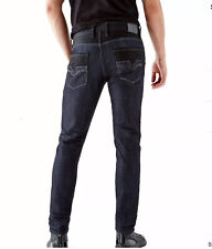 Guess Slim Tapered Jeans Smokescreen Wash Black Contrast Cotton/Polyester Sz 30