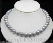 """PEARL NECKLACE GRAY HUGE AAA 9-10MM NATURAL ROUND SOUTH SEA GENUINE 18""""14K"""