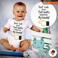 DON'T LOOK AT ME THAT SMELL IS FROM MY GRANDAD FUNNY BABYGROW BABY GROW   1