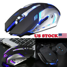 Rechargeable X7 Wireless Silent LED Backlit USB Optical Ergonomic Game Mouse D9