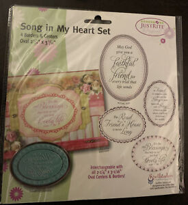 """Justrite rubber stamp set Oval 2 1/4""""x 3 1/16"""" nip Song In My Heart Set-"""