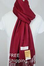 DG Women's Pashmina Scarf Shawl Wrap*Solid Dark Red Silk Cashmere*Soft*New 030