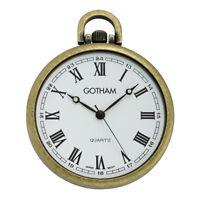 Gotham Men's Antique Gold-Tone Slim Railroad Quartz Pocket Watch # GWC15028AR