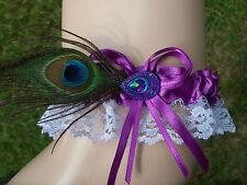 Peacock Feather Blue Glitter Charm - Bridal Toss Wedding Prom - Garter Purple