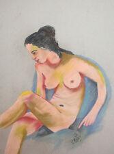 Female pastel painting nude portrait signed