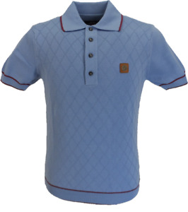 Trojan Records Mens Sky/Port Diamond Fine Gauge Knitted Polo Shirt