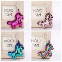 Women Sequin Unicorn Horn Key Chain Handbag Keyring Fashion Jewelry Multi-color