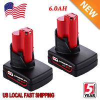 2XFor Milwaukee 48-11-2460 48-11-2440 M12 XC 6.0 LITHIUM Cordless Impact Battery
