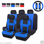 UNIVERSAL 12 PC BLACK BLUE CAR SEAT COVERS PROTECTOR FULL REAR COVER SET NEW