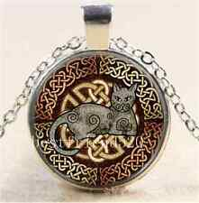 Celtic Cat by Kristen Cabochon Glass Tibet Silver Chain Pendant Necklace