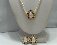 Vintage Faux Pearl White Multi Color Rhinestone Demi Pendant and Earrings
