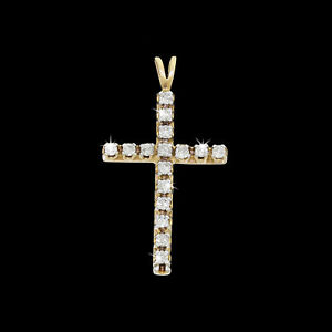 Vtg 10k Yellow Gold 1/2 Carat Natural Diamond Ladies Cross Pendant 4 Necklace