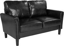 Bari Upholstered Loveseat in Black Leather [SL-SF920-2-BLK-GG] New