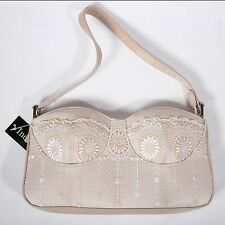 Bustier Handbag Baguette Style Purse Beige Pink by Indeed Trendy Vintage NWT