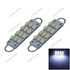 2X White 44mm 212-2 560 12-SMD Rigid Loop LED Bulbs For Door Trunk Lights I501