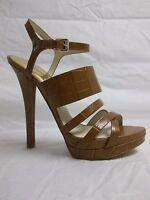 Michael Kors Size 9 M NADJA PLATFORM Brown Leather Sandals New Womens Shoes