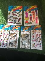 Collection Of Vintage PUFFY STICKERS From 1984. 6 Packs. Football, Dogs, Cars