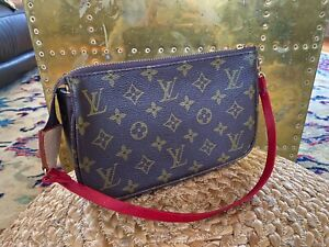 louis vuitton pochette handbag with red custom replaced strap