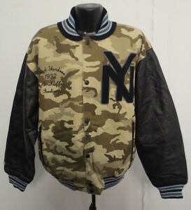 NEW YORK BLACK YANKEES LARGE VARSITY STYLE CAMO JACKET NEGRO LEAGUE COMMON UNION