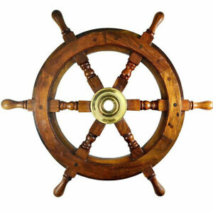 "Teak Wood Ships Wheel 12"" Brass Hub Nautical Pirate Boat Hanging Wall Decor New"