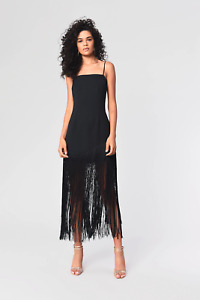 Glamorous Black Fringe Midi Dress