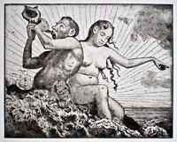 Hans Thoma - Tritonenpaar II (Meerwunder) - Radierung - 1917