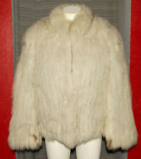 SAGA FOX - White Silver Super Soft & Furry - SUPERB FOX FUR COAT sz M *LUXURIOUS