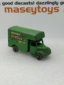 MATCHBOX LESNEY No.17a Bedford Removals Van 1955 green Original vintage diecast