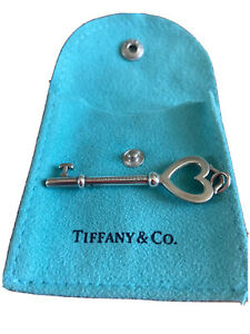 """Authentic Tiffany & Co. Silver LARGE Heart 2"""" Key Charm Pendant Only No Chain"""