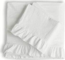 PIU BELLE PORTUGAL Shabby WHITE Cotton  RUFFLED Chic 4 Pc QUEEN SHEET SET
