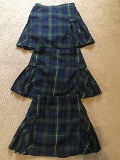 3 Land's End Girls Side Pleat Skorts Hunter Classic Navy Plaid Uniform Size 10+