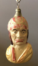 Handsome Antique Indian in Bust Form Figural Glass German Christmas Ornament