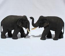 Teak Wooden Elephant Walking Pair 24cm long  Handcarved in Thailand Fair Trade