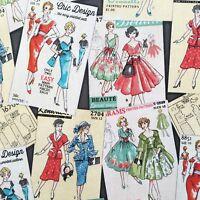 Retro fabric, sewing patterns print, 50s 1950s, vintage dressmaking, Kaufman
