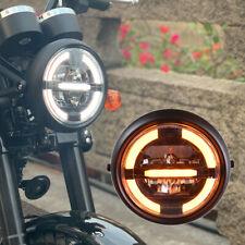 7.4inch phare LED rond de moto pour Harley Chopper Cafe Racer jaune