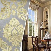 NEW Designer Velvet Chenille Burnout Fabric - Pale Gray And Yellow Upholstery