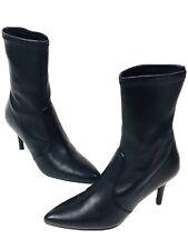 Stuart Weitzman Heel Ankle Cling Leather Black Boots Pristine Condition Sz 9.5 !