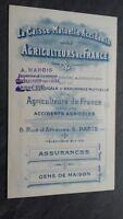 Brochure Depliante Cassa Reciproca Incidenti Agricoltori Di Francia Tbe