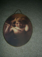 "Cute Cupid Litho Vtg Replica Gallery Graphics Arrows Cherub 8""X11"" Flue Hanging"