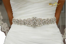 Rhinestone Applique Wedding Sash Ivory and Bridal Sash Belt Dress Accessories