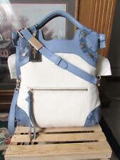 NWT~FOLEY + CORINNA CERBERUS LADY TOTE BLUE LEATHER SNAKE & NATURAL CANVAS ~$328