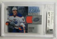2015-16 CONNOR MCDAVID UD ICE FRESH THREADS JERSEY ROOKIE CARD #FT-CM BGS 9