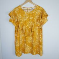 Seed Heritage Women's Top Mustard Yellow Floral Frill Short Sleeve Size 12